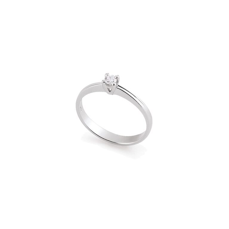 Anello Solitario Artlinea in Oro Bianco con Diamante - AD078-LB