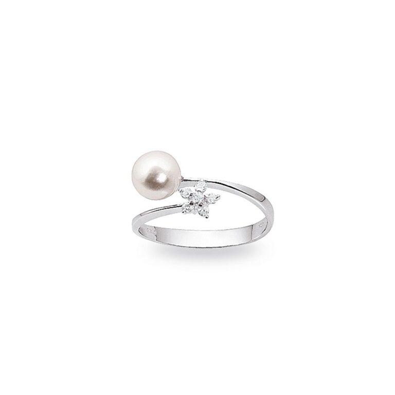Anello Artlinea in Oro Bianco con Diamanti e Perla - Pearls - AD189-LB
