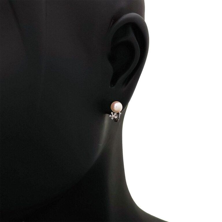 Orecchini Artlinea in Oro Bianco con Diamanti e Perle - Pearls - OD057-LB