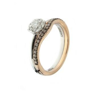 Anello Davite & Delucchi in Oro Bianco e Rosa con Diamanti - AA030603BRS