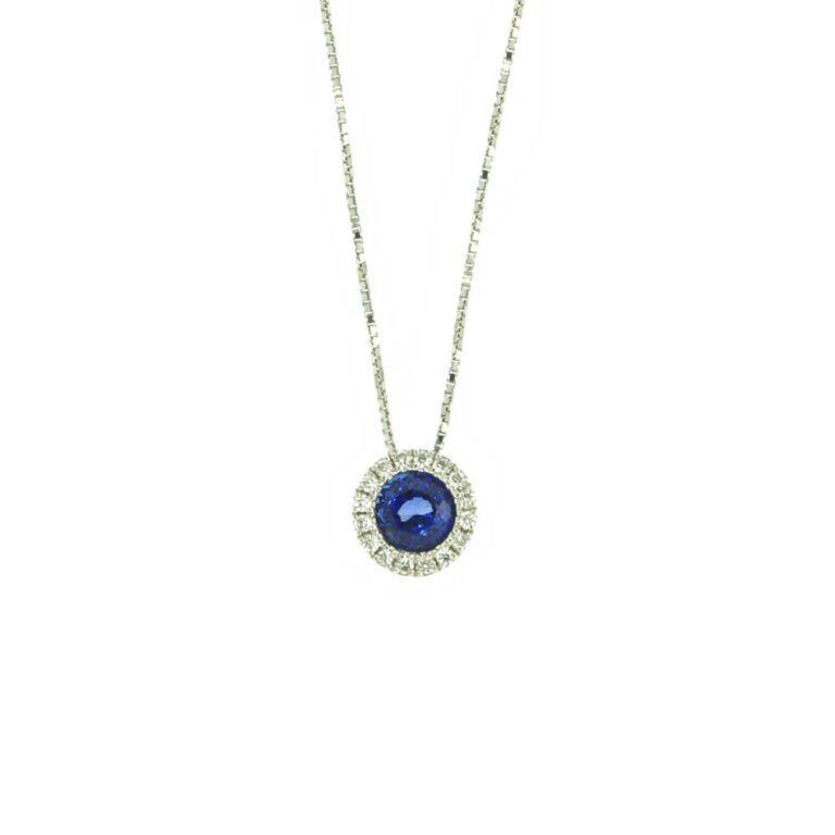 Collana Linea Blu da Donna in Oro Bianco con Diamanti e Zaffiro - 1245165