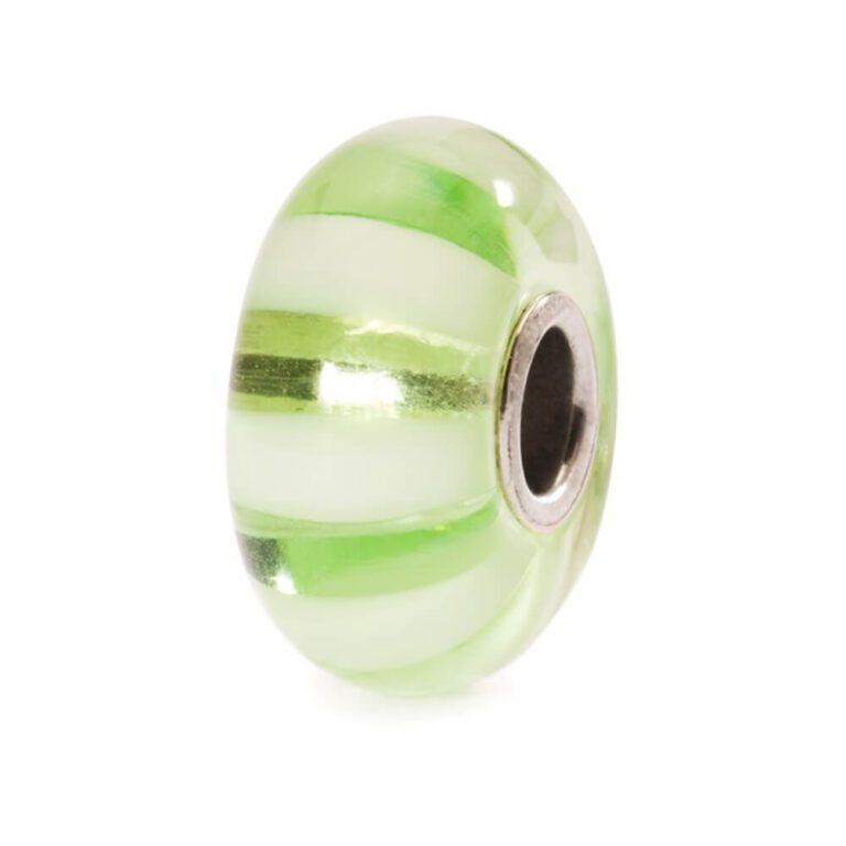 Bead Trollbeads Strisce Verde Limone in Argento e Vetro di Murano - 61377