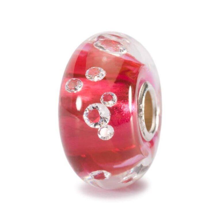 Bead Trollbeads Diamante Rosa in Argento Vetro di Murano e Zirconi - 81006