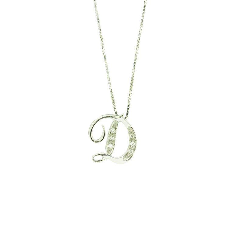 Collana Linea Blu da Donna in Oro Bianco con Diamanti - Lettera D - 9718130D