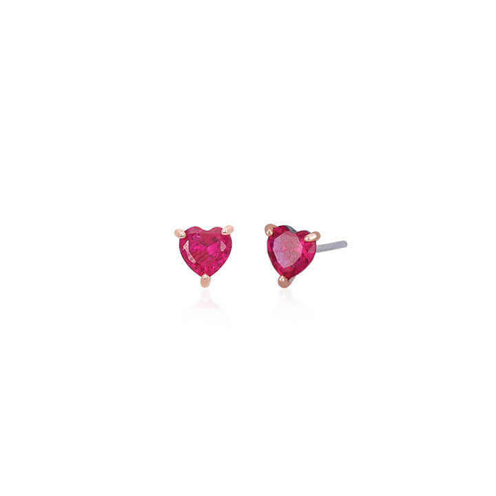 Orecchini Mabina Cuore Argento Rubino - 563181