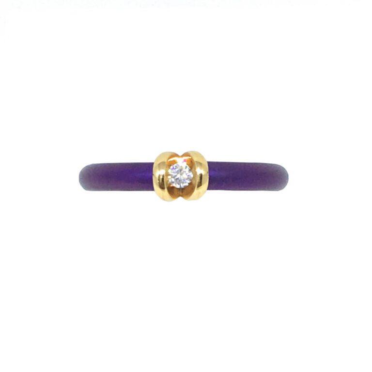 Anello Solitario in Titanio Oro e Diamanti - 49/351TI