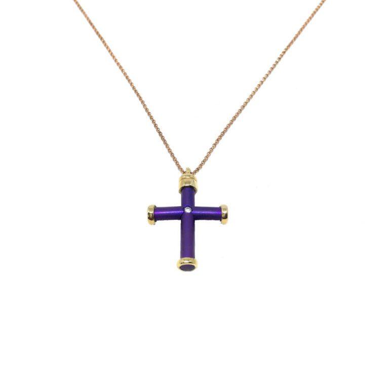 Collana Croce Titanio Oro Diamanti - 49/707TI/26