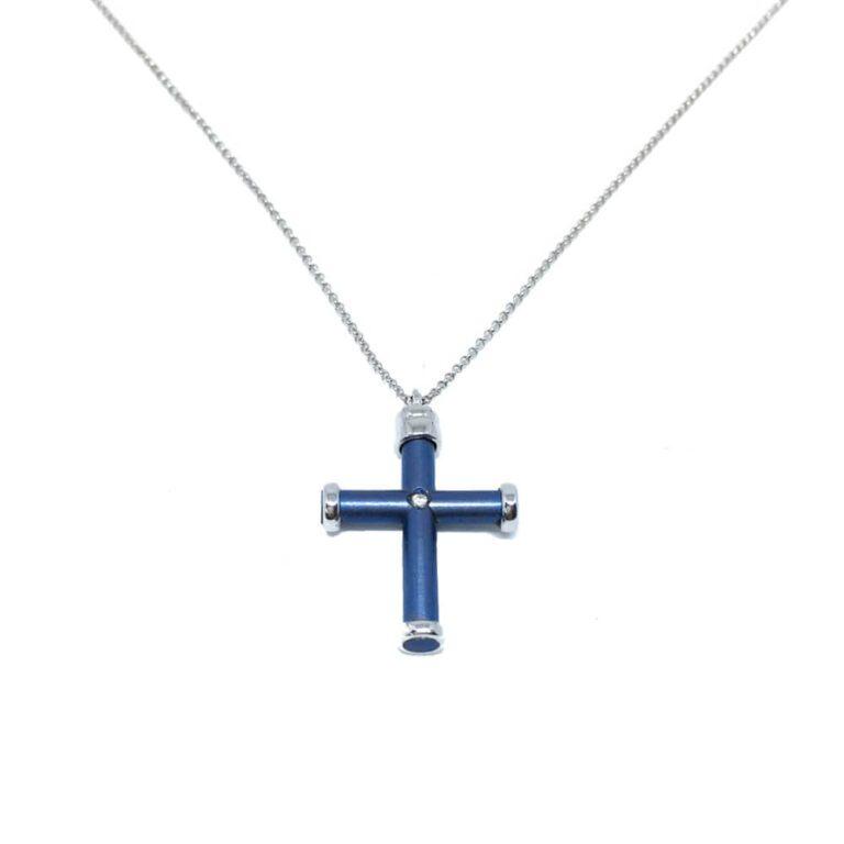 Collana Croce Titanio Oro Diamanti - 49/707TI/20
