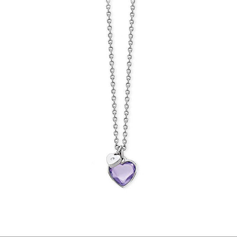 Collana 2Jewels Acciaio Ciondolo Cuore Vetro Viola - True Color - 251591