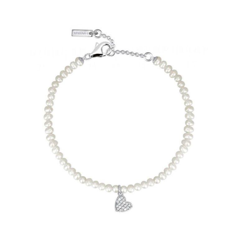 Bracciale Mabina Donna Argento Perle Zirconi Cuore 533254