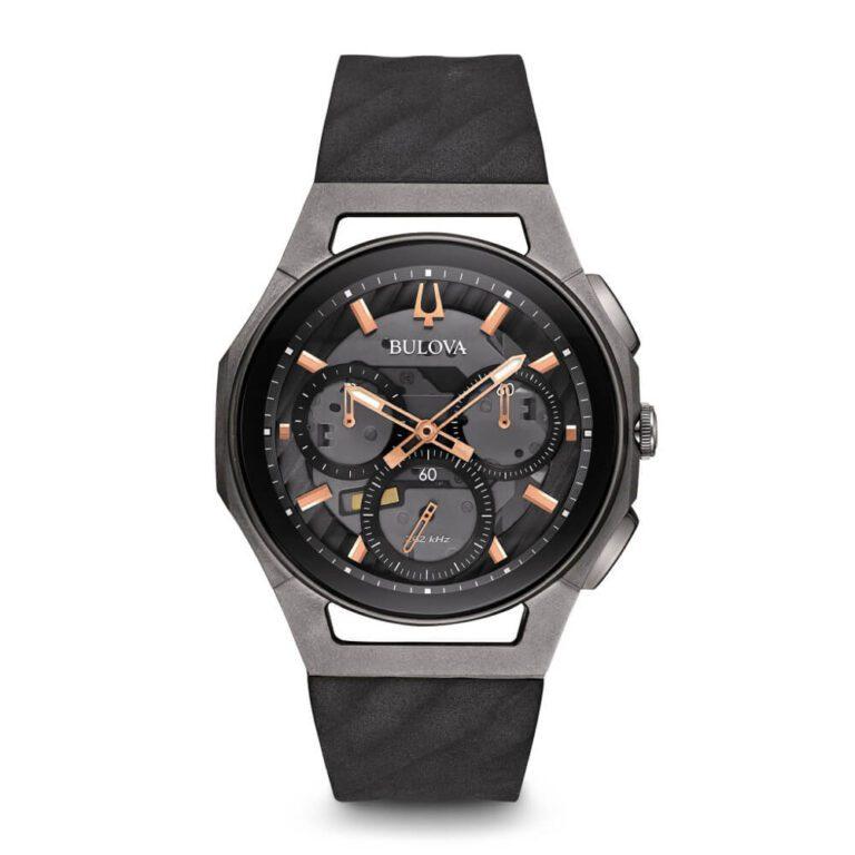 Orologio Bulova Cronografo Uomo in Acciaio Nero e Caucciù - Curv - 98A162
