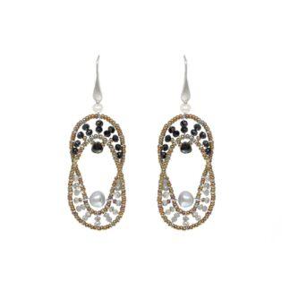 Orecchini Ziio Argento e Vetro di Murano con Pietre Semipreziose - EAR ELISSE GREY