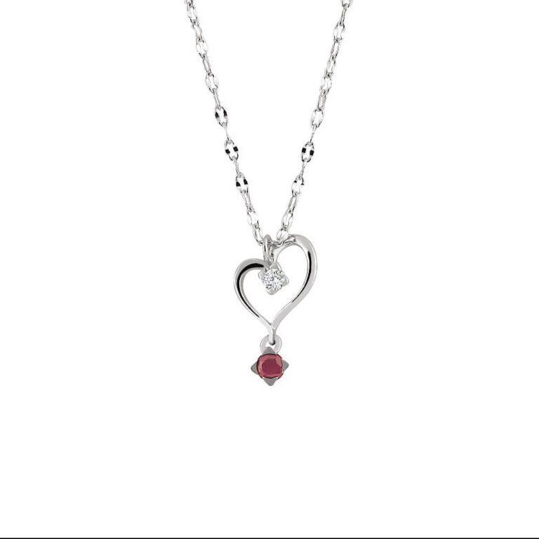 Collana Donna Artlinea Oro Bianco Cuore Diamante Rubino - Punti Luce - CD046-LB