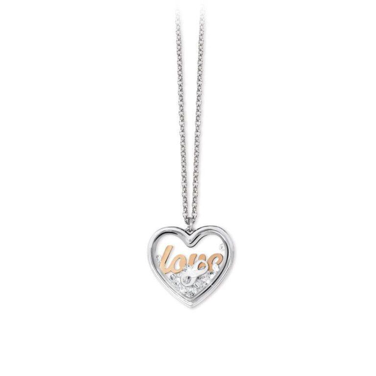 Collana 2Jewels Donna Acciaio Ciondolo Cuore Vetro Scritta Love - Daylight- 251645