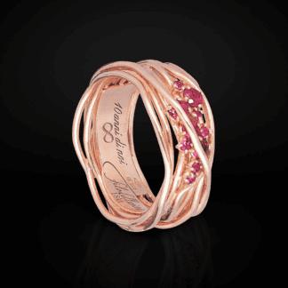 Anello 10 Fili in Argento Oro Rosa Rubini - Ten Collection - AN100RRB