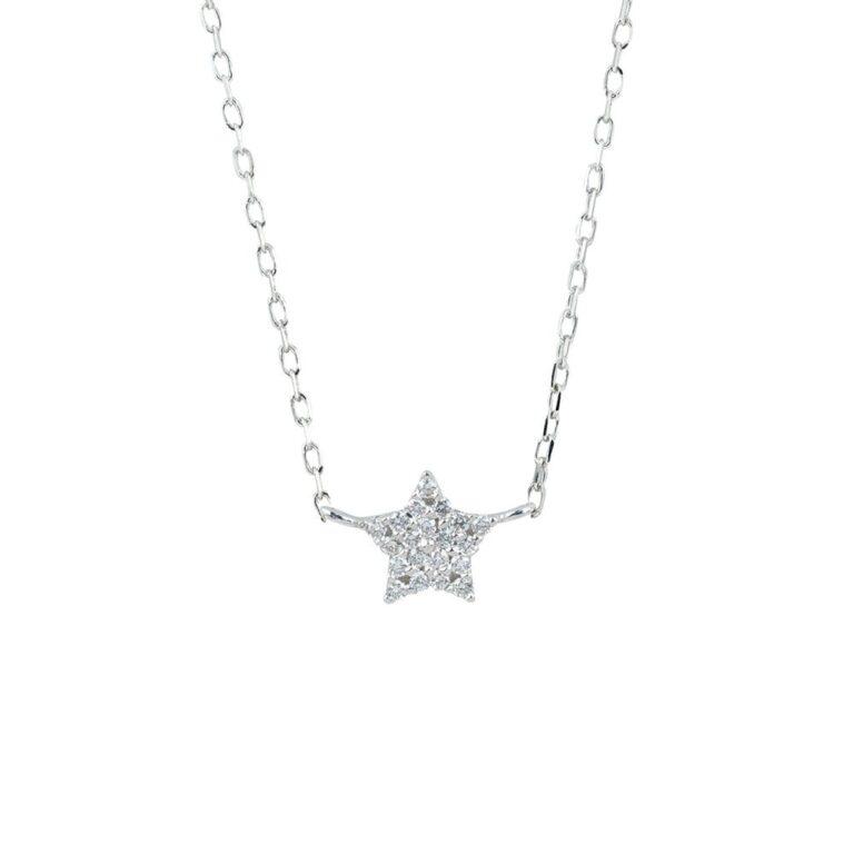 Collana Artlinea in Oro Bianco con Diamanti   Stella - CD477-LB