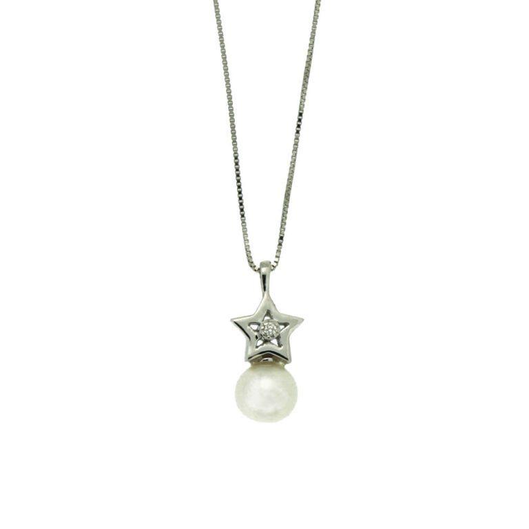 Collana Donna Acanfora Stella Oro Bianco Perla - P0910021X