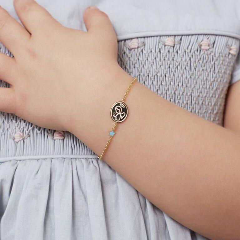 Bracciale Le Bebè in Oro Giallo e Smalto con Angelo e Stella - Proteggimi - PMG088