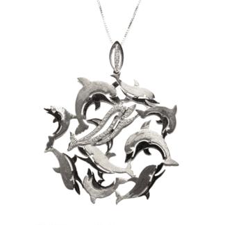 Collana Oro Ciondolo Oro e Diamanti |Delfini