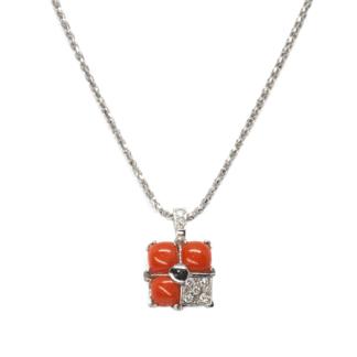 Collana con Ciondolo in Oro Corallo e Diamanti