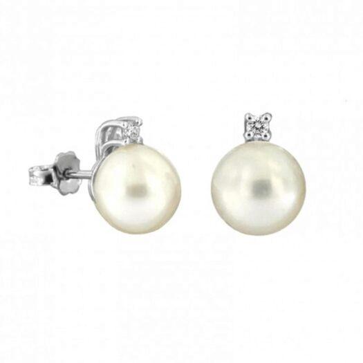 Orecchini Davite & Delucchi in Oro Bianco Diamanti Perle - BB D08