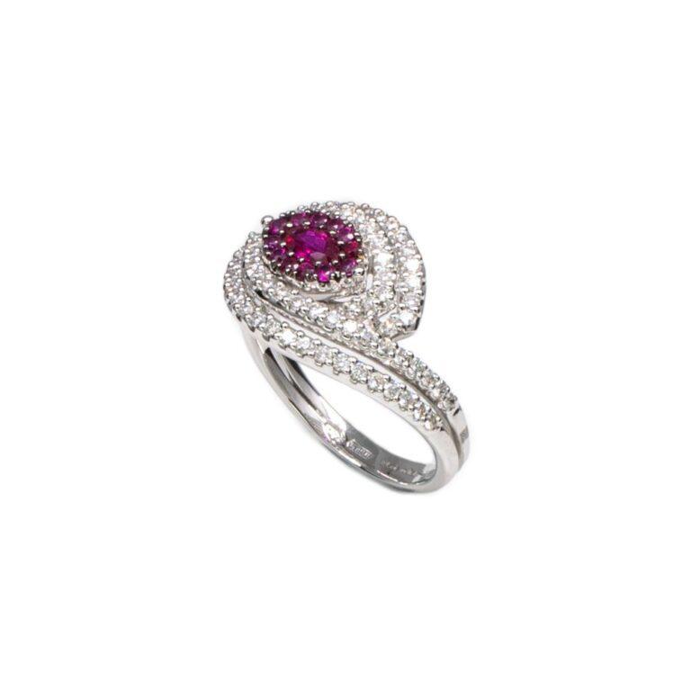 Anello Davite & Delucchi Oro Bianco Diamanti Rubini - AA 030768RB