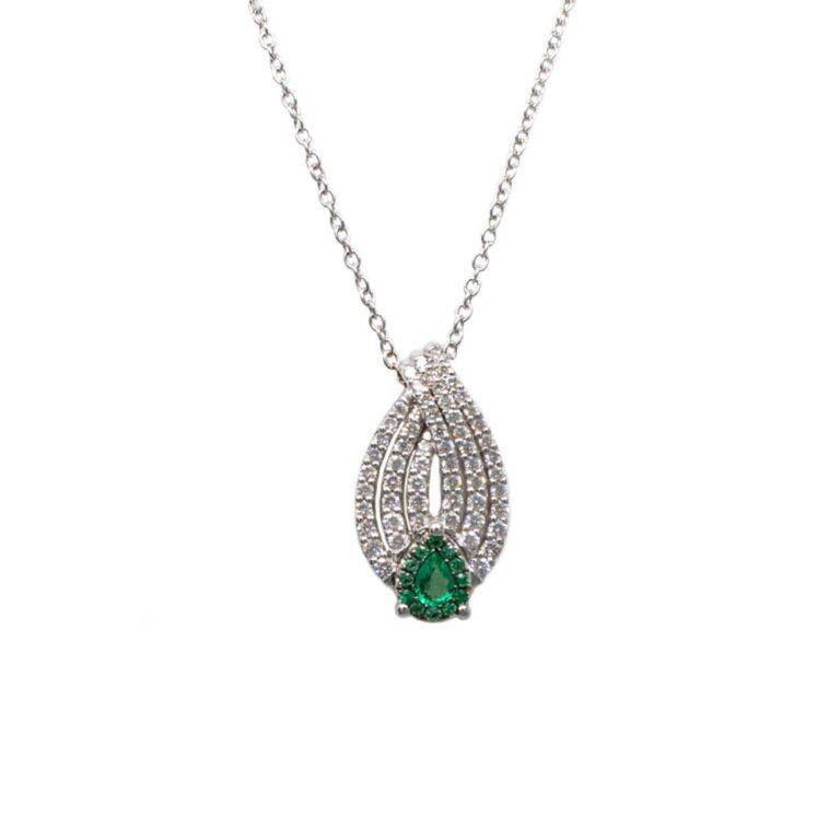 Collana Davite & Delucchi Oro Bianco Diamanti Smeraldi - CLN011117SM