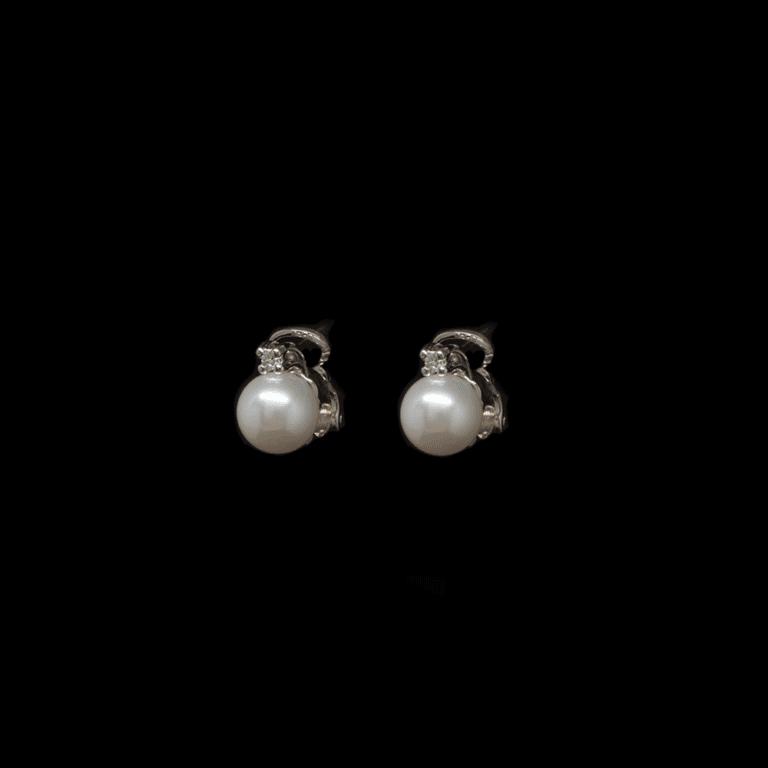 Orecchini Lobo in Oro Bianco Perle e Diamanti - OR885LTG33C