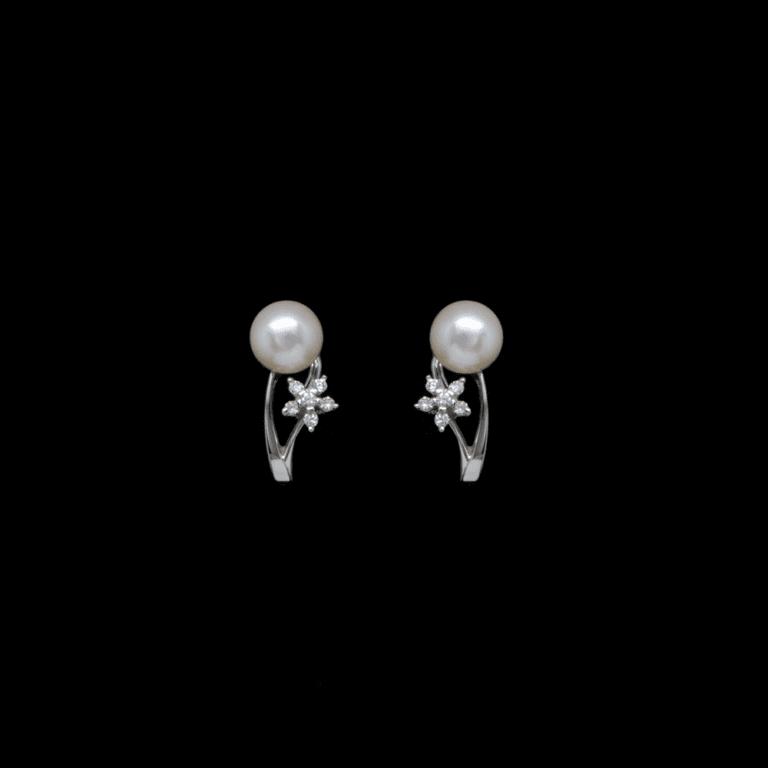 Orecchini Lobo in Oro Bianco Perle e Diamanti