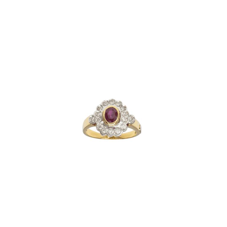 Anello in Oro Giallo e Oro bianco con Diamanti e Zaffiro - 0026-1