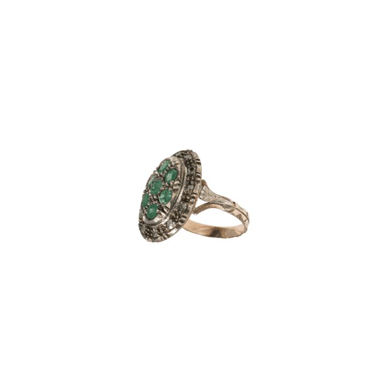 Anello in Argento e Oro Rosa con Diamanti e Smeraldi - Stile Antico - 01M0216