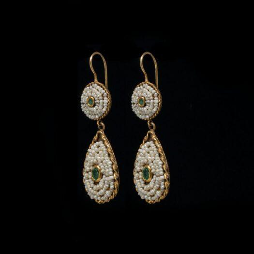 Orecchini a Pendenti in Oro Rosa Perle e Smeraldi - Stile Antico - 13F02