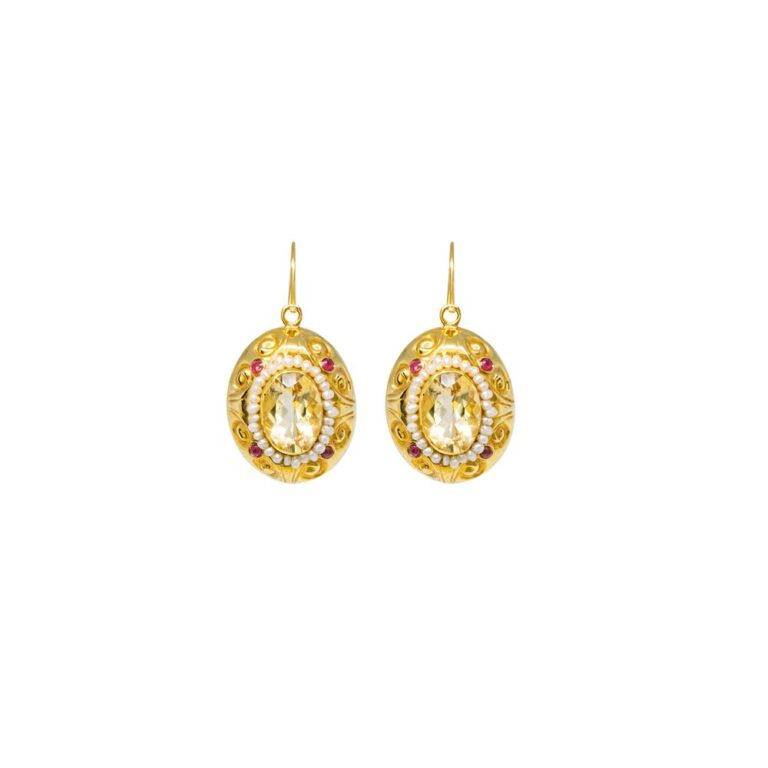 Orecchini a Pendenti in Oro Giallo Perle e Topazio Citrino - Stile Antico