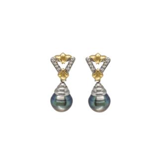 Orecchini a Pendenti in Oro Bianco Perle Nere e Diamanti