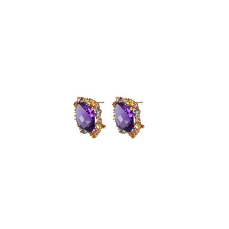 Orecchini in Oro Rosa con Ametista e Topazio - Stile Antico - 71420