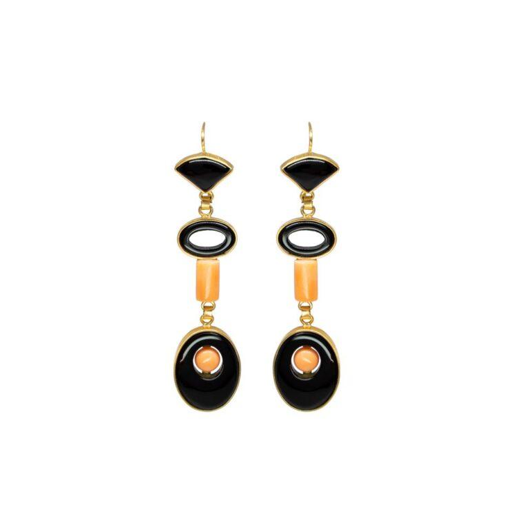 Orecchini in Oro Giallo con Onice e Corallo - Stile Antico - 71850