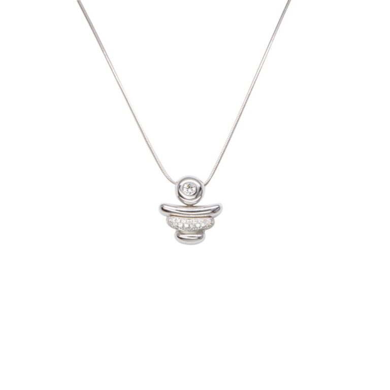 Collana Girocollo in Oro Bianco con Pavè di Diamanti - DB00037