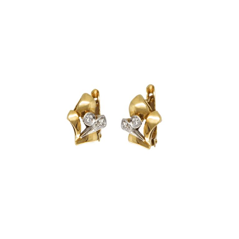 Orecchini a Lobo in Oro Giallo e Diamanti