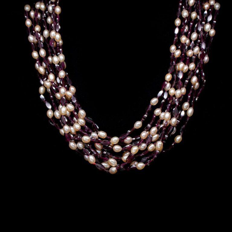 Collana Multifilo in Oro Giallo con Granato e Perle - 40B
