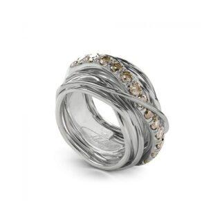 Anello 13 Fili in Argento con Diamanti Brown - Carato Collection - AN001ABR