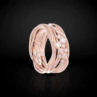 Anello 10 Fili in Oro Rosa 18kt con Diamanti - Ten Collection - AN100RBT