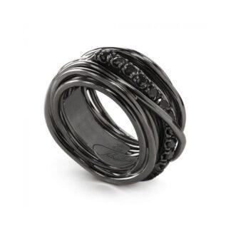 Anello 13 Fili in Argento Brunito con Diamanti Black - Rock Collection - AN10NBN