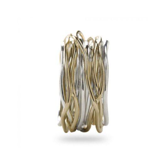 Anello 13 Fili in Argento e Oro Giallo 9kt - Classic Collection - AN13AG