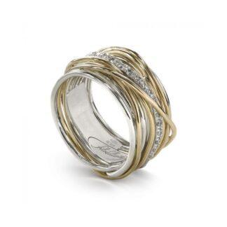 Anello 13 Fili in Argento e Oro Giallo con Diamanti - Classic Collection - AN13AGBT