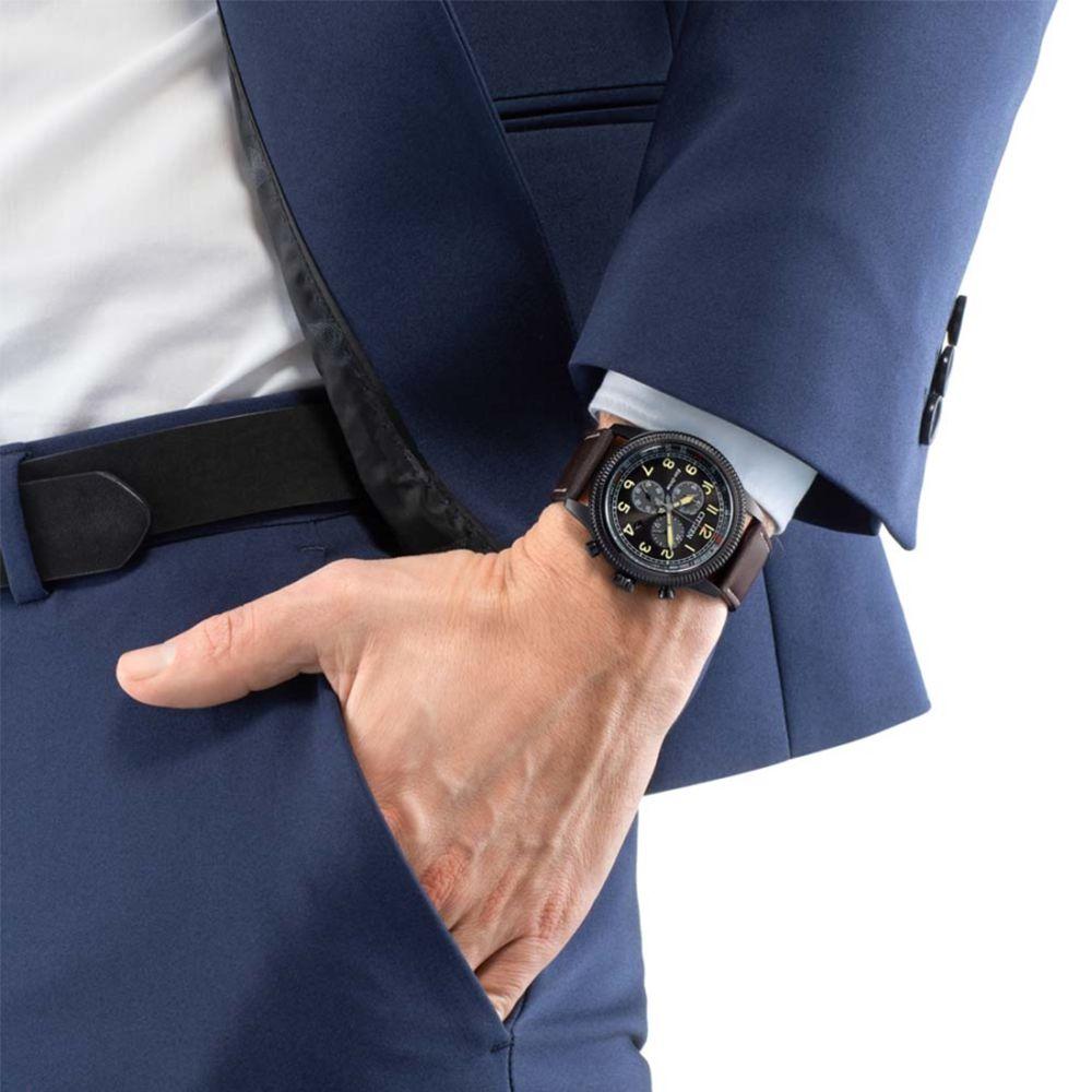 Orologio Eco Drive Cronografo Citizen In Acciaio E Pelle Crono Aviator At2465 18e