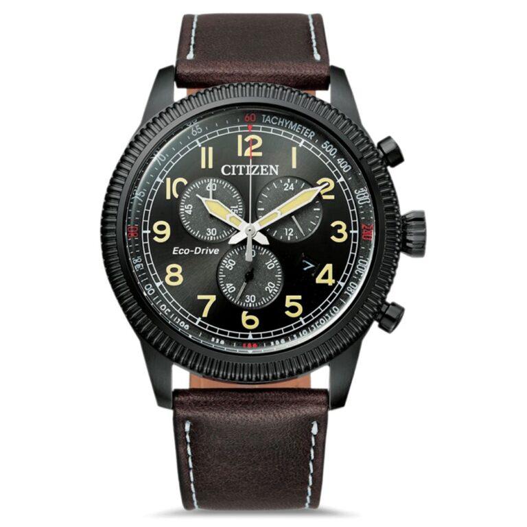 Orologio Eco Drive Cronografo Citizen in Acciaio e Pelle - Crono Aviator - AT2465-18E