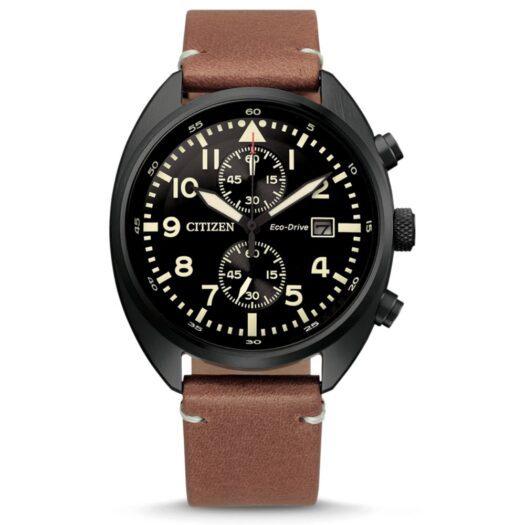 Orologio Eco Drive Cronografo Citizen in Acciaio e Pelle - Crono - CA7045-14E