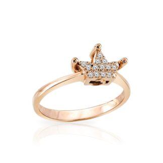 Anello Mey in Oro Rosa con Diamanti | Corona - ANMEY QNN-DR