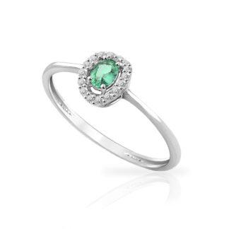 Anello Mey in Oro Bianco con Smeraldo e Diamanti | Ovale - ANMEY SBR-EM