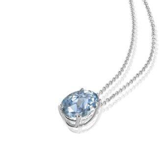 Collana Mey in Oro Bianco con Acquamarina e Diamanti | Ovale - CDMEY 1ACQ